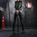 Calças de couro homem primavera outono magro locomotiva couro pu calças moda casual calça dos homens do punk stage roupas k11