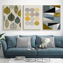 Abstract Geometric Leaves Nordic Posters Creative Canvas Wall Art Printing HD Oil Painting Living Room Decorative