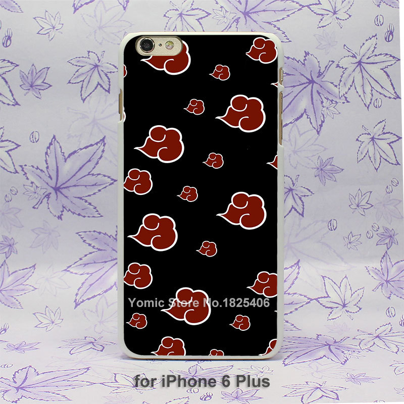 Naruto Akatsuki logo Pattern hard White Skin Case Cover for iPhone 4 4s 4g 5 5s 5c 6 6s 6 Plus
