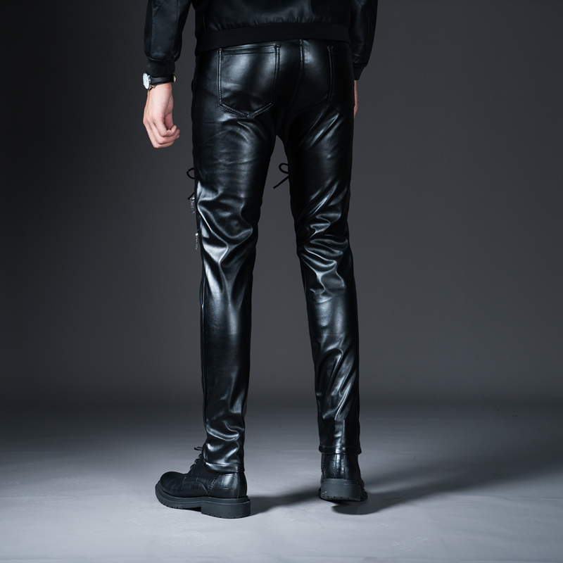 New Winter Spring Men's Skinny Leather Pants Fashion Faux Leather Trousers For Male Trouser Stage Club Wear Biker Pants 28