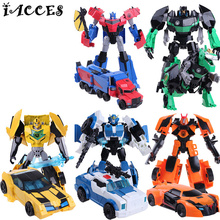 Anime Series 4 Toys Plastic ABS Deformation Robot Car Action Figure Brinquedos Kids Cool Model Boys