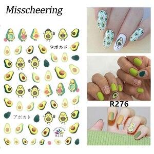 Image 1 - DIY Planten Bloem Goud Lijn Patroon 3D Nail Sticker zelfklevende Decals Avocado bladeren Cartoon Ontwerpen Manicure Nail Art tips