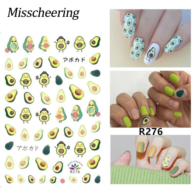 DIY Plants Flower Gold Line Pattern 3D Nail Sticker Self adhesive Decals Avocado leaves Cartoon Designs Manicure Nail Art Tips