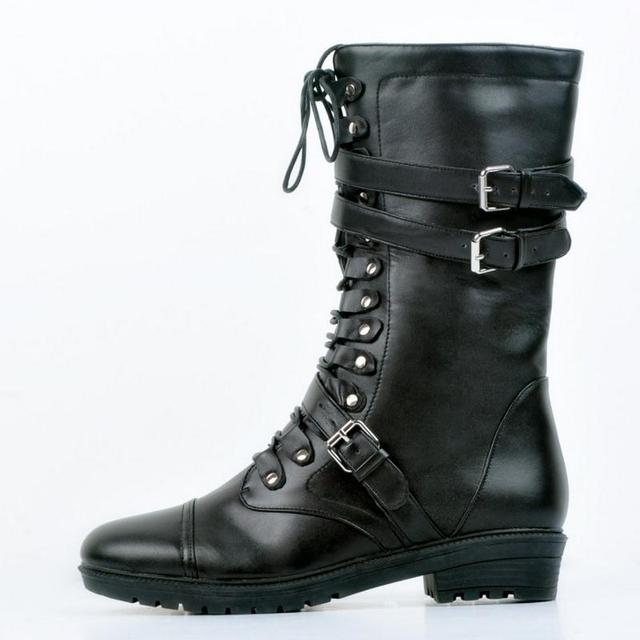 Women Fashion Round Toe Martin Boots Lace Up Flat Ankle Boot Buckle Wrap Size 34-47