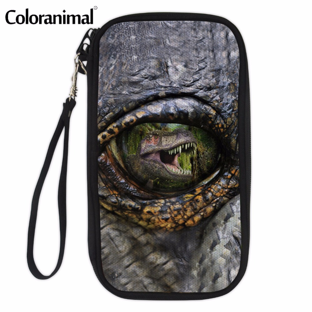 Coloranimal Cool Animal Dinosaur Eye Print Women Passport Wallet Woman Big Multi Pocket Crossbody Storage Shoulder Money Bags