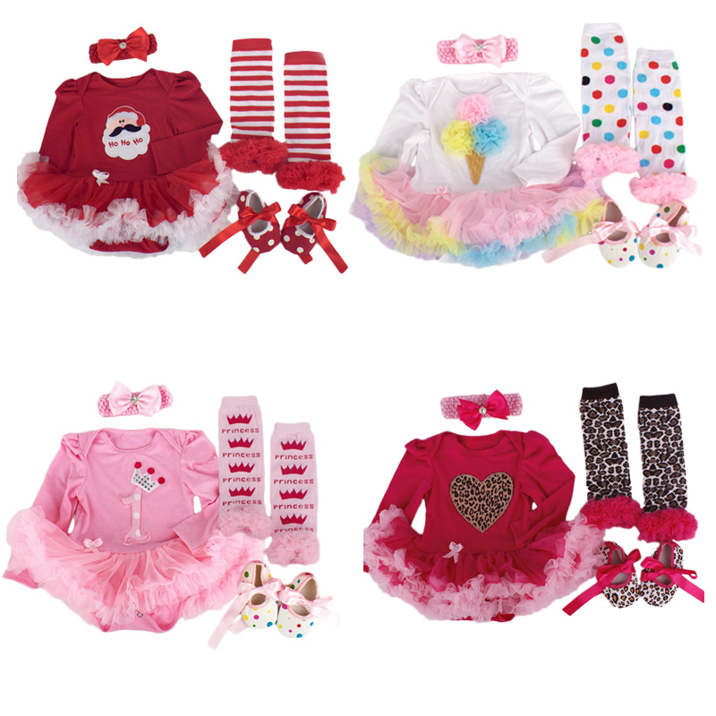 Wholesale Baby Girl Clothing Infant Christmas Long Sleeve Tutu Romper Dress Jumpsuit Outfit Bebe Birthday Party Costume Vestidos