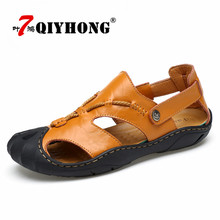 QIYHONG Brand 2018 Genuine Leather Men Sandals Summer Cow Leather New For Beach Male Shoes Mens Gladiator Sandal Leather Sandals