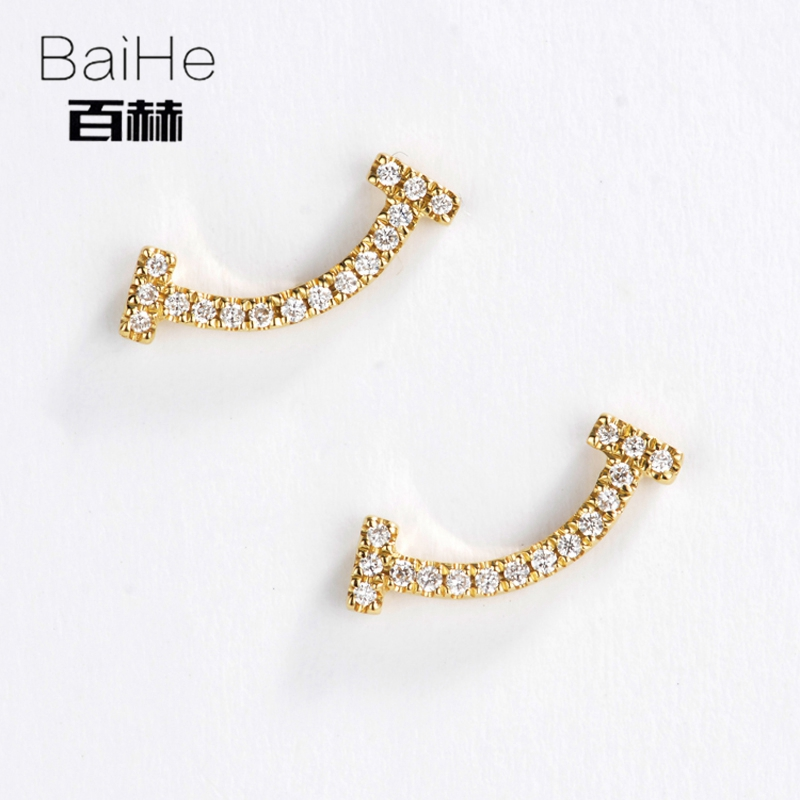 BAIHE Solid 14K Yellow Gold 0.08CT H/SI 100% Genuine Natural Diamond Party Trendy Fine Jewelry Elegant GIFT Unique Stud Earrings цена