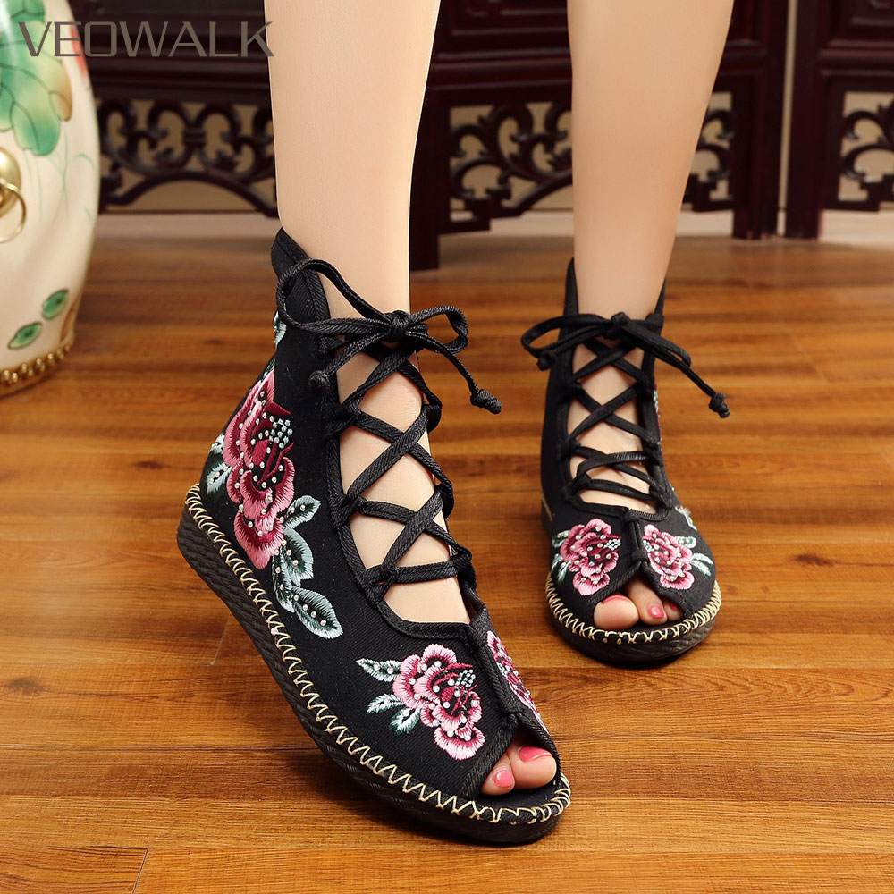 Nice Veowalk Handmade High Top Women Canvas Flat Gladiator Sandals Open Peep Toe Summer Cotton Embroider Lace Up Shoes Sandials Mujer