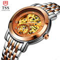 HOT 2016 tss Rose Gold watch men skeleton Stainless steel Automatic mechanical Sapphire glass waterproof watch relogio masculino