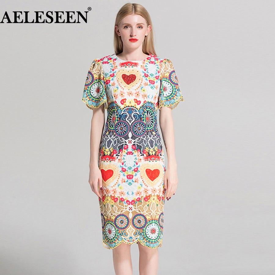Luxury OL Bodycon Women Dresses 2018 Summer Short Sleeve Floral Print Beading Petal Ruffles Slim Heart Knee Length Vintage Dress