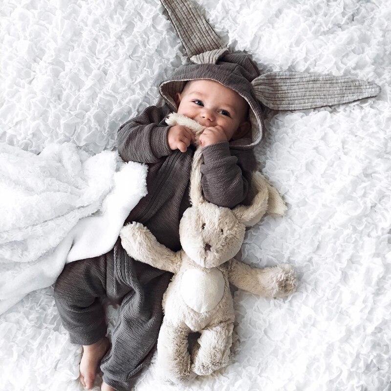 2017 весенняя одежда для малышей для новорожденных Одежда для девочек и мальчиков серый кролик ползунки Детские Комбинезоны Косплей Хэллоуи...