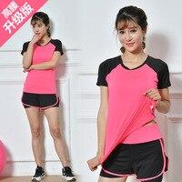 Fitness Shirt Women Summer Yoga Workout Clothes Uniform Suits Two Piece Women's Short Sleeve Outdoor Running T shirt