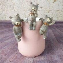 Figurines en forme de Mini éléphant zakka, 3 pièces, jolies Monky, paysage Miniature, décorations de tasse de déco, Figurines de jardin en résine, ombre