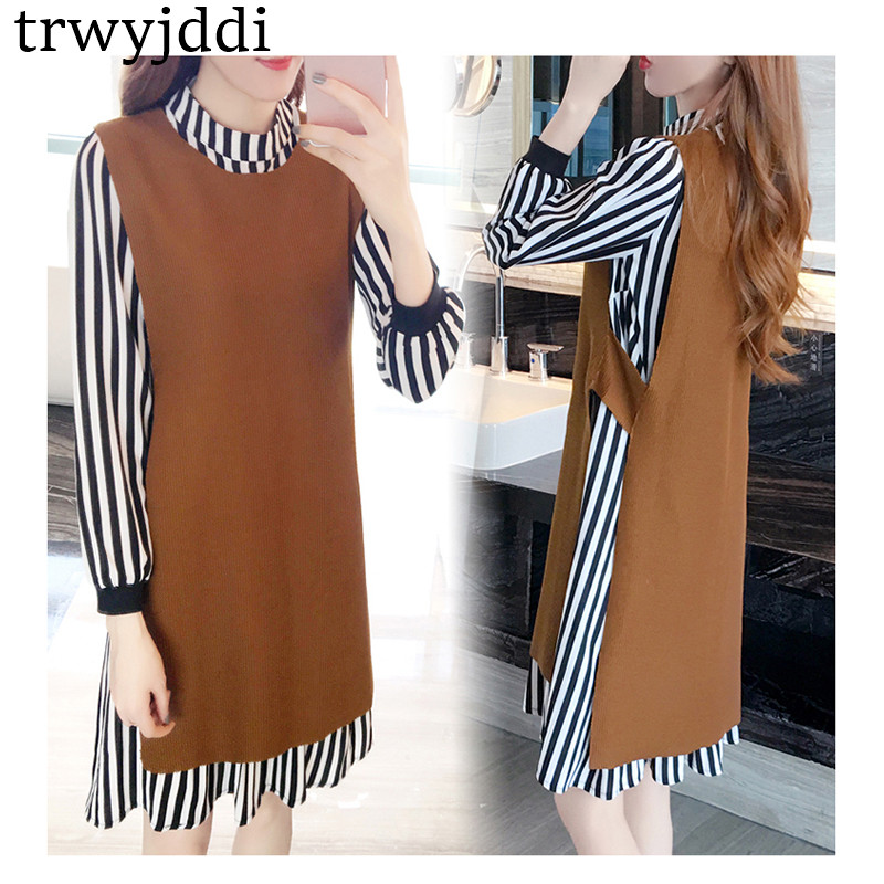 2018 New Spring Autumn Loose Womens Clothing Two-piece Set Lady Long Vest Knitted Sweater+Striped Chiffon Dress Suit hl130