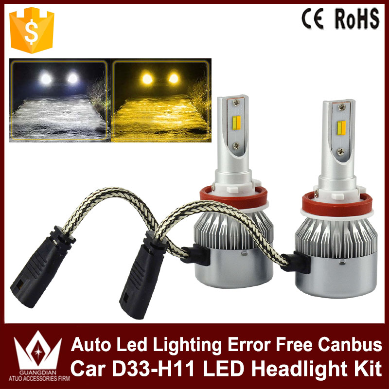 High Power Car LED Headlight Kit D33 9005 9006 9012 H4 H11 36W Auto Led Hi/Lo Headlamps Free Canbus White With Yellow Fog Light