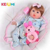 KEIUMI Realistic 17'' Reborn Dolls Babies Soft Silicone Body Baby Girl Toy Fashion 43 cm Stuffed PP Cotton Baby Reborn Playmates
