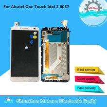M & 6037B Sen Para Alcatel One Touch Ídolo 2 6037 DISPLAY OT6037 Lcd screen display + Touch digitalizador con marco blanco/Negro envío gratis