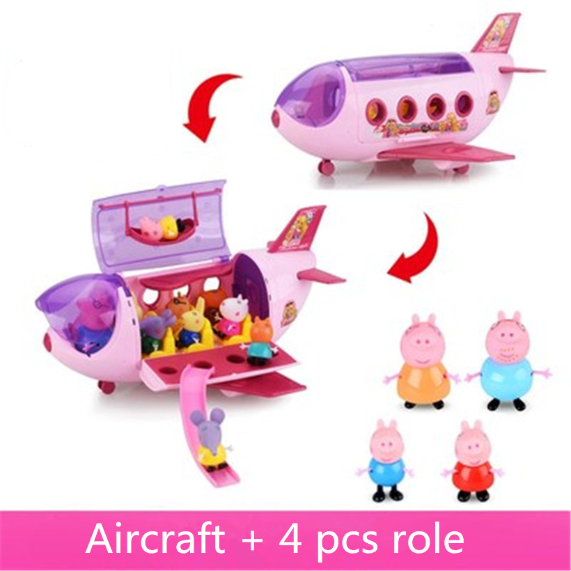 Fashion Sports Car Aircraft Model Peppa Pig Family Full Roles Doll Action Figure Children Gifts