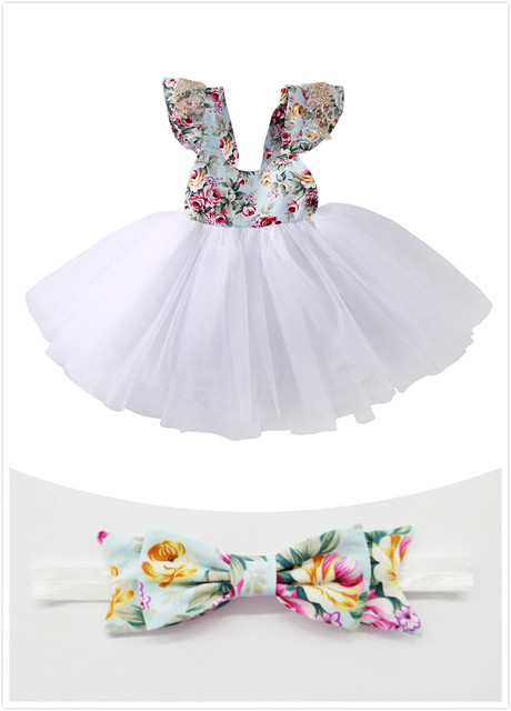 7454d3ea3 Newborn Toddler Baby Girls Floral Dress Party Ball Gown Lace Tutu Formal  Dresses Sundress