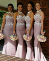 2016 Mermaid Long Halter Bridesmaid Dress Wedding Party Dress With Appliques Longue Wedding and Event Dress
