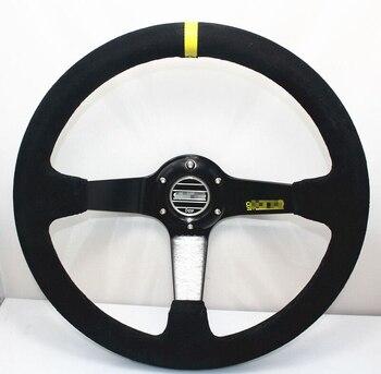 TOMMIA Universal 350mm/14 zoll Tief Aufgetischt Sport Racing Wildleder Leder Legierung Auto Lenkrad Auto Styling