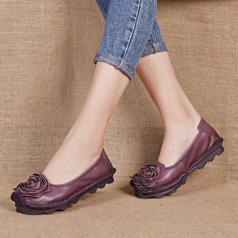 Marque En Femme Cuir sand Fleur Chaussures Mocassins Casual pourpre Prova Perfetto Mode Taille Dames Véritable Plus Plat La Bleu Appartements x8Cvq0wX