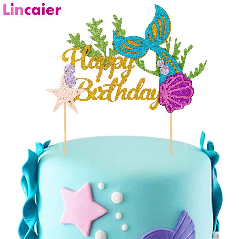 Superb Lincaier Happy Birthday Paper Cake Topper Mermaid Party Funny Birthday Cards Online Alyptdamsfinfo