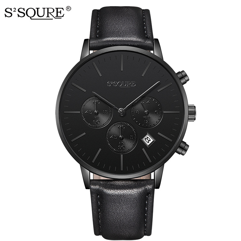 S2SQURE Jakarta S002 high-grade leisure business quartz multifunction calendar Mens Leather Watchband cnblue jakarta