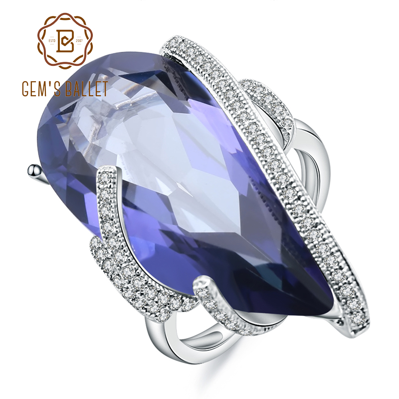 Gem's Ballet 20Ct Natural Iolite Blue Mystic Quartz Ring 925 Sterling Silver Vintage Cocktail Rings For Women Fine Jewelry