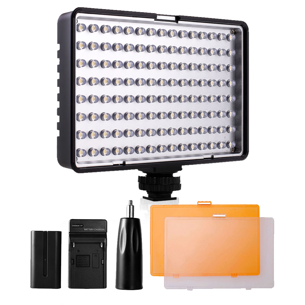 Travor 120 led video light on Camera Video Hotshoe LED Lamp for Canon Nikon Sony DV Camcorder DSLR +NP-F550 battery +Charger