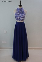 Royal Blue Two 2 Pieces Prom Dresses Rhinestones Beaded Crop Top Long Graduation Dress 2018 High Neck Party Gowns Vestidos