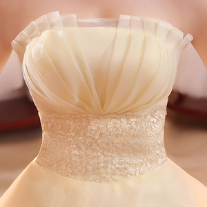 Image 5 - Hot Sale Wholesale Champagne Red White Wedding Dress 2018 New Arrival Ruffles Appliques Sweetange Korean Style bride Summer