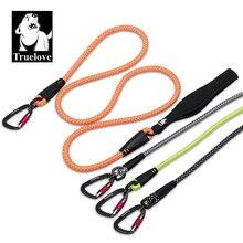 TrueLove köpek evcil hayvan tasması naylon yansıtıcı alüminyum alaşımlı kanca paslanmaz çelik d ring neopren kolu yürüyüş batonu TLL2571