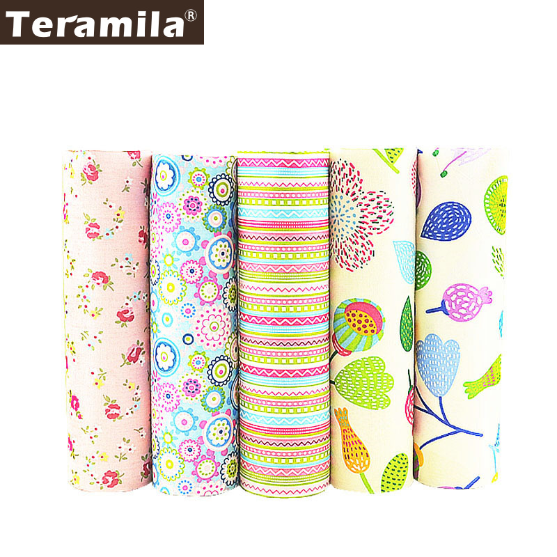 5PCS / lot 40cmx50cm Flower мақта мата Pre-cut Bundle Tail Teramila Patchwork Tecido Tela Киім Төсек керек-жарақтары