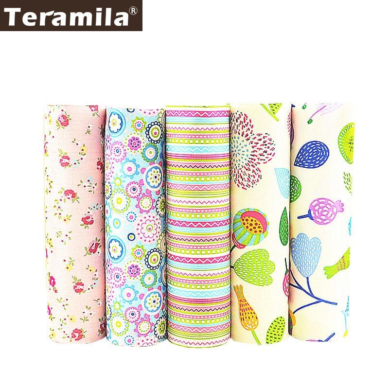 5PCS/lot 40cmx50cm Flower Cotton Fabric Pre-cut Bundle Sewing Teramila Patchwork Tecido Tela Clothing Bedding Tissues Art Work