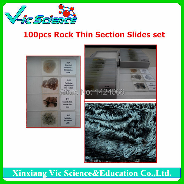 100pcs Mineral Rock Thin Section Slides set