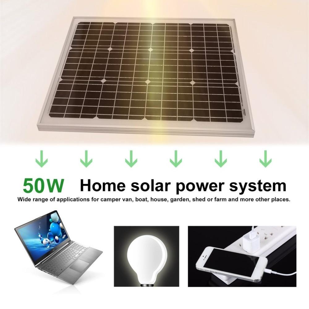 50W 12V Monocrystalline Solar Panel Resistant Aluminum Frame Solar Panel Module Universal Outdoor Solar Charging Device expansion module elc md204l text panel
