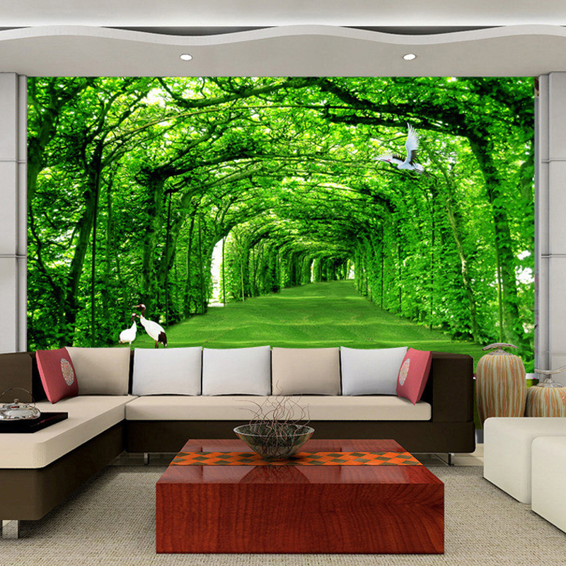 living background tv wall backdrop sofa modern decorations custom road trees wallpapers mural