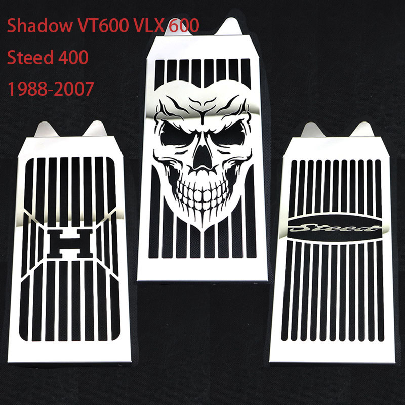 Steel Chrome Motorcycle Skull Radiator Grill Cover Guard Protector For HONDA Shadow VT600 VLX 600 Steed