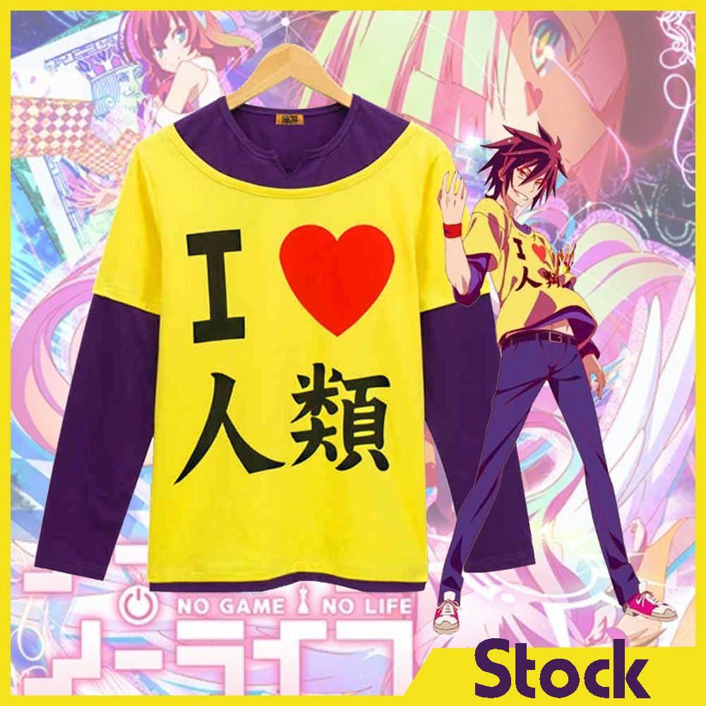 [Stock]Cotton Pullover!!Anime NO GAME NO LIFE Figure Sora I love Human cosplay t-shirt in stock S-XXL NEW 2017