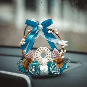Image 4 - Fashion Car Dream Catcher Blue woven garland Hanging Pendant Home Hanging Decoration craft gift Dashboard Car Mirror Pendant