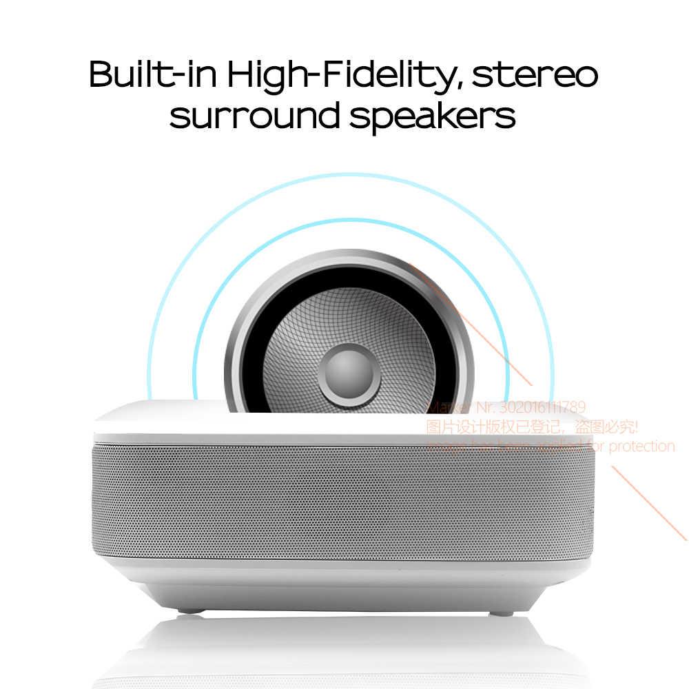 アウン LED ミニプロジェクター D40W 、ビデオ用ホーム Cinema.1600 ルーメン、サポート HD 、ワイヤレス同期表示 Iphone/Android 携帯用