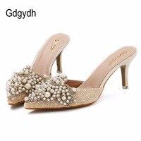 New Brand 2015 Summer Sweet Elegant Pearl Beaded High Heeled Slippers Thin Heels Pointed Toe Slippers