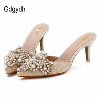 New Brand 2015 Summer Sweet Elegant Pearl Beaded High Heeled Slippers Thin Heels Pointed Toe Slippers