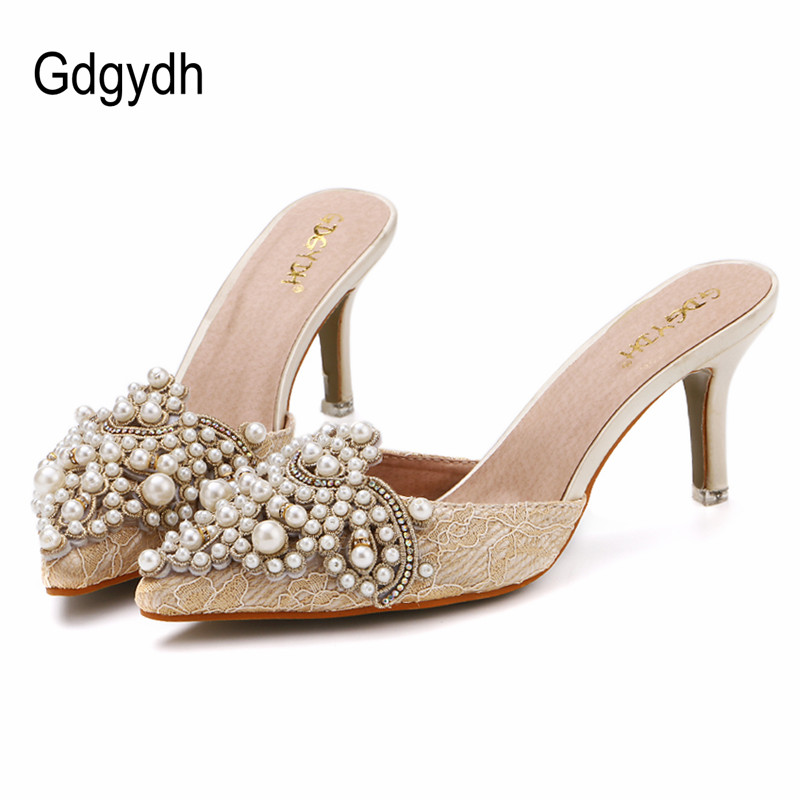 Gdgydh New Brand 2018 Summer Shoes Women Sweet Elegant Pearl Beaded High-heeled Shoes Thin Heels Pointed Toe Women Sandals sgesvier 2017 spring summer women pumps sweet high heeled shoes thin high heel shoes hollow pointed stiletto elegant tr007