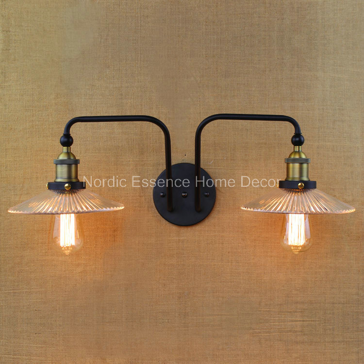 Scandinavian-style industrial-style bedroom interior Nordic creative personality Mediterranean Cafe Iron Double Wall Glass lamps style