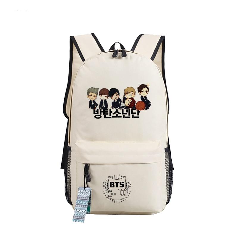 New Fashion Printing Bts Bangtan Boys School Backpack Wings Canvas Women Men Backpacks Teenage Girls Laptop Back Pack Mochila #3
