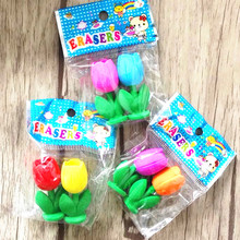96pcs/lot Color Beautiful Tulips Pot design Nontoxic Demountable eraser Students gift prize Kids Alpinia toy