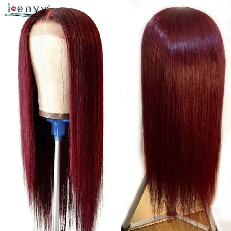 99J Lace Front Human Hair Wigs With Baby Hair Straight Burgundy Brazilian 13X4 Lace Front Wigs Pre Plucked 150 Density NonRemy
